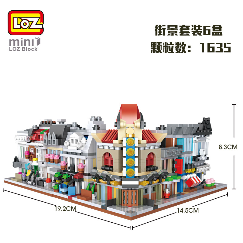 LOZ Blocs Maison Mini Street View Building Block Ensemble de Briques En Plastique Jouet Magasin Createur City Assembly Carre