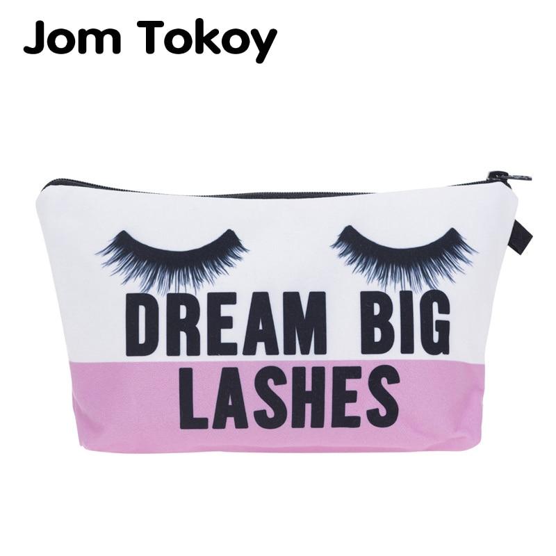Jom Tokoy Cosmetic Organizer Bag Dream Big Lashes Printing Cosmetic Bag Fashion Women Brand Makeup Bag