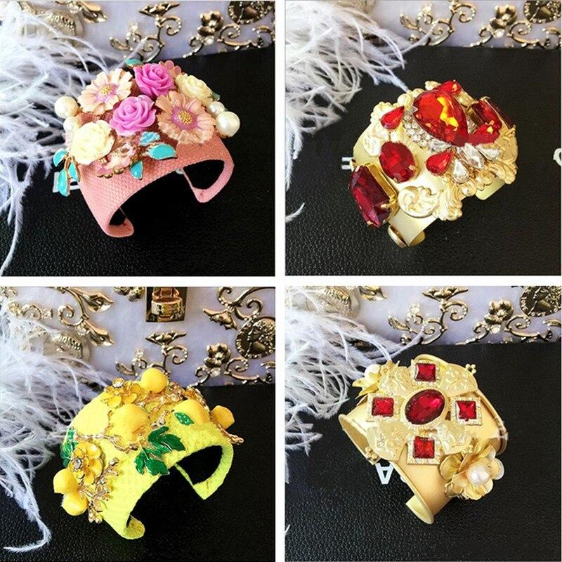 Vintage piste punk or strass cristal fleur citron large charme bracelets  ouvert manchette bracelet baroque bijoux femme 52e29490bab