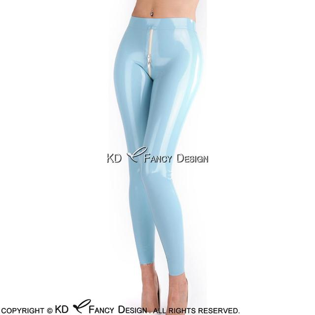 Lake Blue Sexy Latex Leggings Rubber Pants Trousers Bottoms Plus Size CK-0036