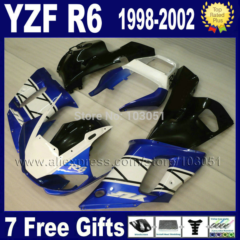 Motorcycle fairing kit for YAMAHA YZF R6 1998 1999 2000 2002 blue white black YZF600 YZFR6 98 00 01 02  aftermarket Fairings