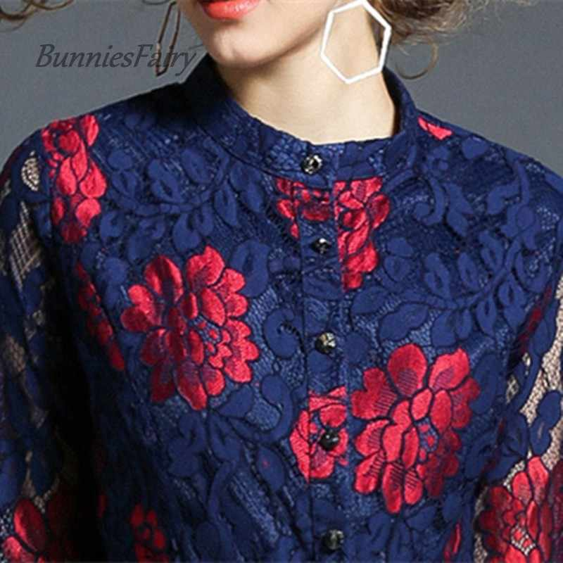 Банниесфеи 2018 пружинная подставка воротник однобортное цветочное вышитое открытое кружевное платье Высокая талия до середины икры халат Vestido