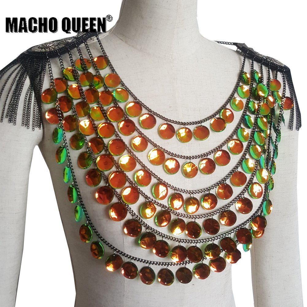 Burning Man Outfits Costumes Holographic Summer Musical Festival Rave Crop  Top Fringe Shoulder Pieces Wear Gear 904c72f2f1fa