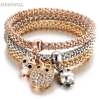 IFREEWILL Zircon Woman Bracelet Trendy Style Charm Owl Gold-color Snap Three Piece Popcorn Chain fashion Jewelry Wholesale Party