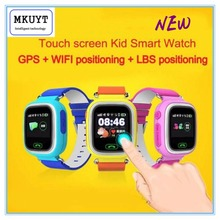 Freies Verschiffen Q90 GPS Telefon Positionierung Mode Kinder Uhr 1,22 Zoll farbe Touchscreen WIFI SOS Smart Uhr PK Q80 Q50 Q60