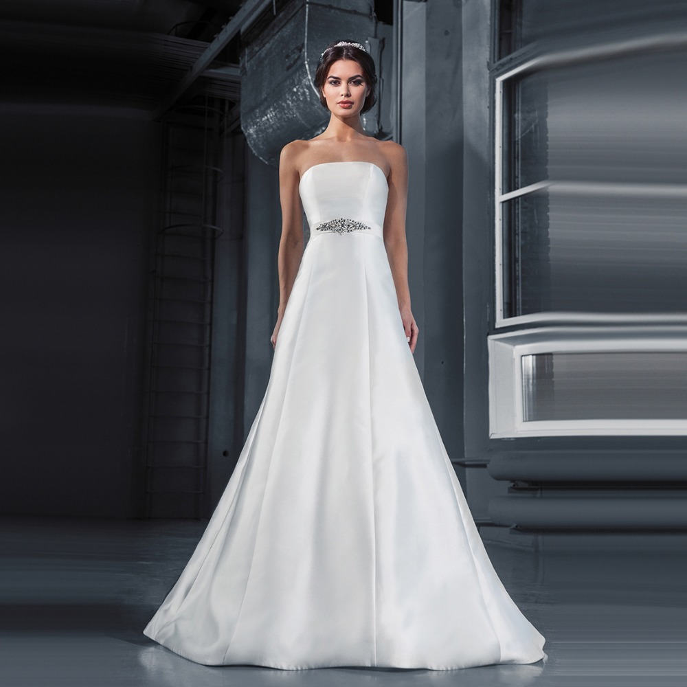 Popular lace and rhinestone wedding sash buy cheap lace and delicate sexy a line strapless plain satin wedding dresses 2017 with rhinestone sashes sexy bridal gowns ombrellifo Gallery
