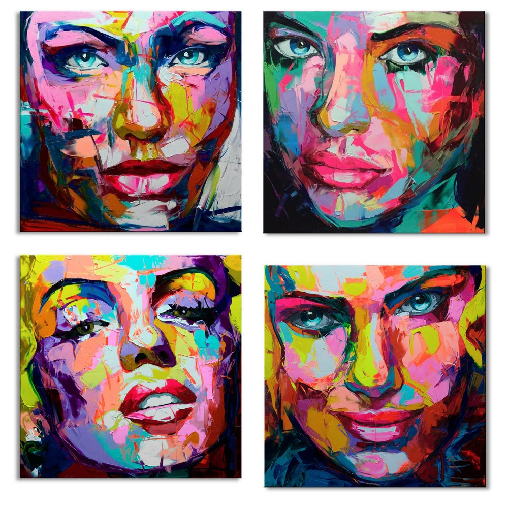 Handmade Knife Painting Abstract Face Painting Impasto Figure Canvas Wall Art Decoration For Home FP 012