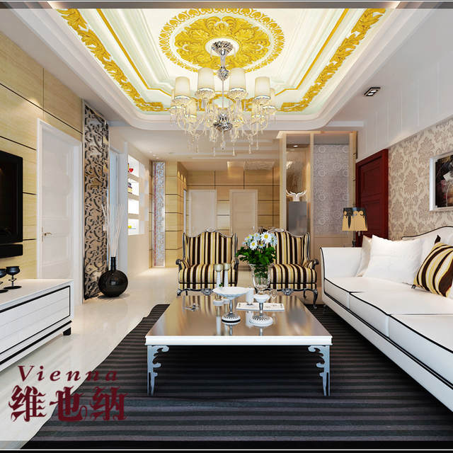 US $14.85 45% OFF|modern minimalist living ceiling 3d perspective wall  paper paintings Continental carved plaster ceiling imitation 3D  wallpaper-in ...