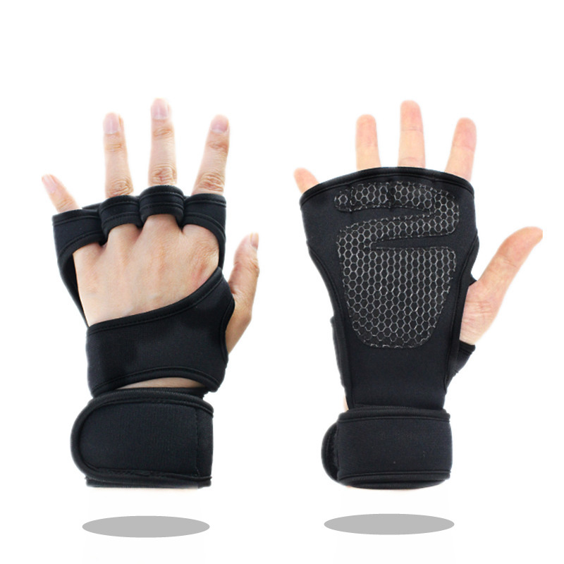 Neoprene Weight Lift Training Workout Gym Palm Exercise: Weight Lifting Gym Gloves With Wrist Wraps Men Women