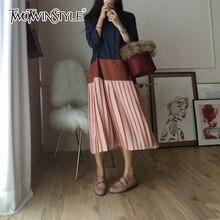 TWOTWINSTYLE Patchwork Dress Female Lapel Collar Big Size Midi Long Pleated Dresses Women 2018 Spring Fashion Korean Clothing