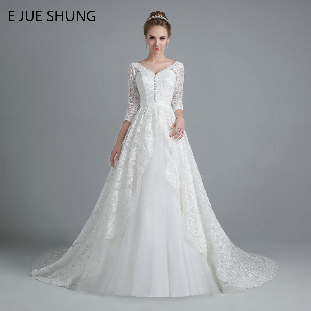 E JUE SHUNG White Vintage Lace Ball Gown Wedding Dresses Lace Up Back 3 4 Sleeves