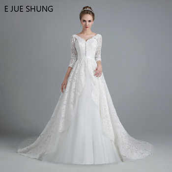 E JUE SHUNG White Vintage Lace Ball Gown Wedding Dresses Lace Up Back 3/4 Sleeves Wedding Gowns robe de mariage - DISCOUNT ITEM  35% OFF Weddings & Events