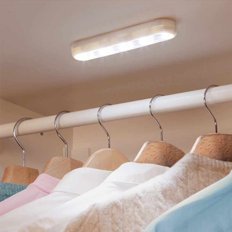 3-5 Led Touch Light Lamp Self-adhesive  Battery Powered LED Cordless Stick Tap Wardrobe Night Light Bedroom Closet Ceiling