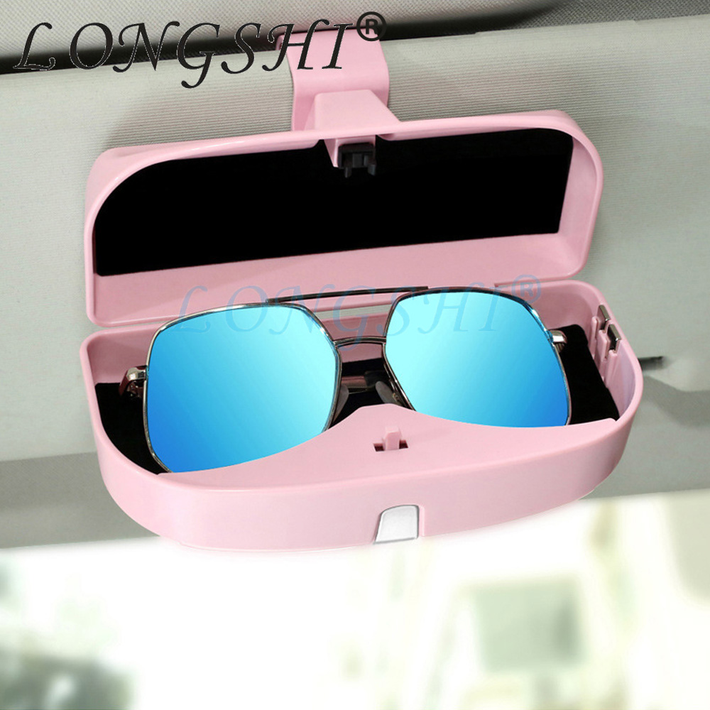 LONGSHI Car Styling Universal Car Sun Visor Glasses Box Sunglasses Ticket Receipt Clip Storage Holder Glasses Cards Car Holder in Glasses Case from Automobiles Motorcycles