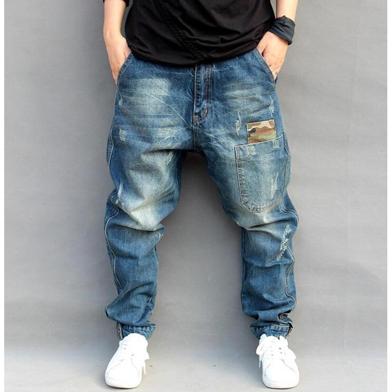 New Male Sweatpants HIPHOP Crotch Pants Men Denim Jeans Men Baggy Pants Trousers