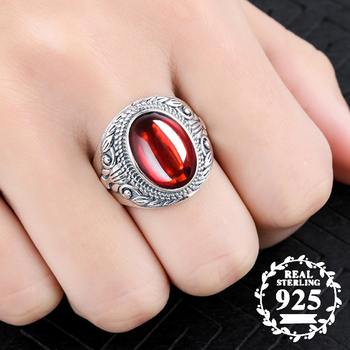 10*14mm NOT FAKE S925 Sterling Silver Australia Ruby Rings Exaggerated Rings upper class Gemstone  Retro Chalcedony