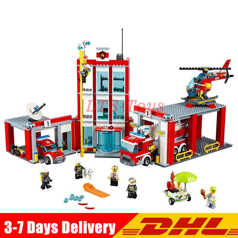 In Stock DHL Lepin 02052 City The Fire Station Set 1029Pcs Genuine LegoINGly Set 60110 Building Blocks Bricks Action Toys Gift lepin 02052 genuine city series the fire station set legoing 60110 building blocks bricks educational toys as christmas gift