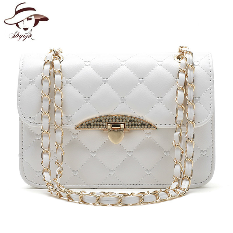 New Fashion Women Messenger Bag PU Leather Girls Chain Shoulder Tote Solid Cute Fashion White Party Handbag Crossbody Bag Wallet rdywbu candy color rivet chain shoulder bag women new pearl pu leather flap handbag girls fashion crossbody messenger bag b430
