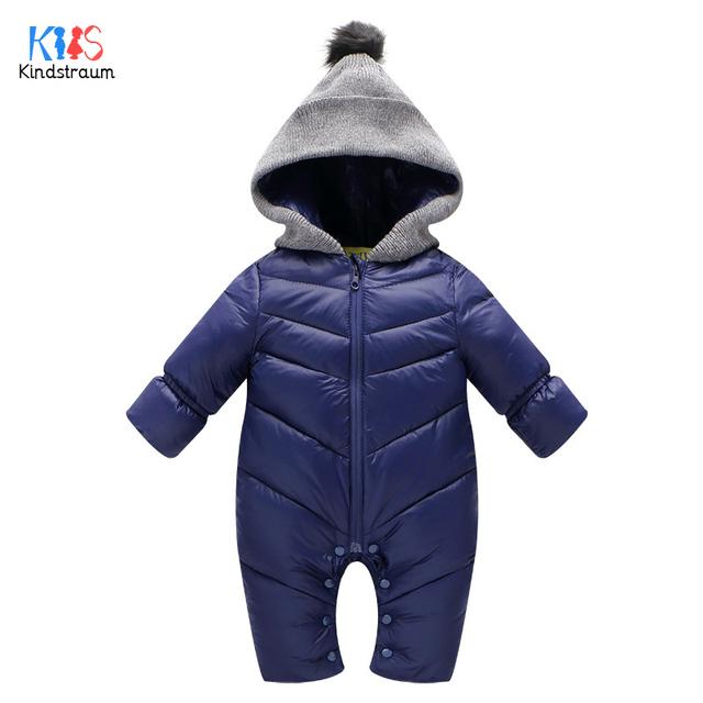 Kindstraum 2017 novo macacão de bebê para baixo crianças de alta qualidade grosso sólidos roupas de inverno de algodão com capuz 1-4 anos outerwear, rc815