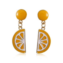 Charm Women Fruit Drop Earrings Fashion Cute Apple Lemon Strawberry Kiwi Banana Tomato Coconut trees Enamel Pendant Earrings