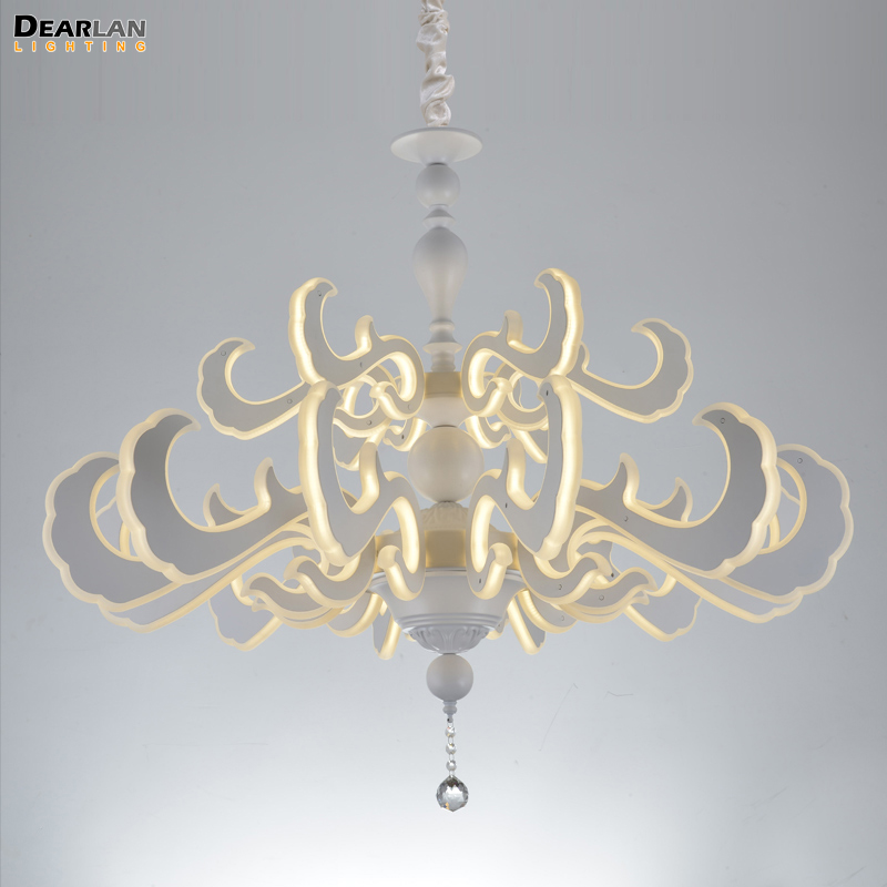 LED New Lighting Art Deco LED Pendant Light Fixture White Acrylic Hanging Lustre for Home Decoration Hotel Project Restaurant