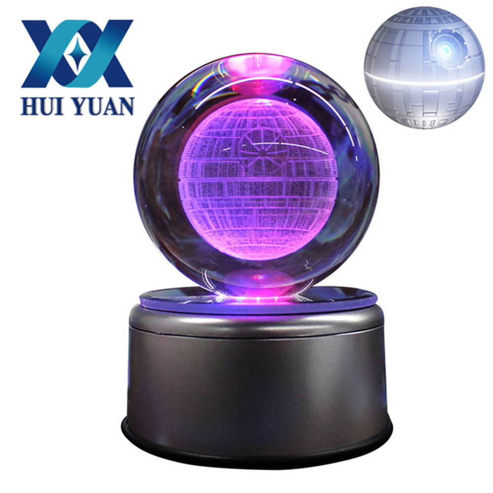 HUI YUAN Death Star 3D Crystal Ball 7 Colors Rotation 3D LED Night Light Desk Table Lamp Glass Ball Child Christmas Gift batman 3d lamp led remote control night light usb 7 colors changing decorative table lamp interesting gift hui yuan brand