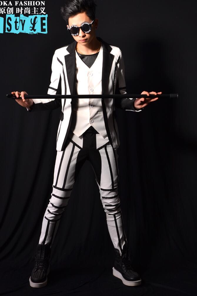 Épissure blanche hommes costumes conceptions masculino terno scène costumes pour chanteurs hommes blazer danse vêtements veste style robe punk rock