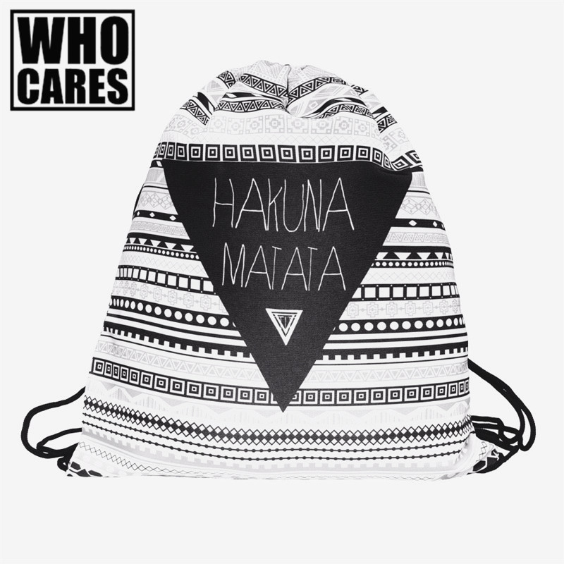 HAKUNA MATATA 3D Printing mini Backpack women New Drawstring bag Geometric triangle pattern Travel bag mochila feminina backpack