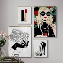 Lipstick Handbag High Heels Wall Art Canvas Painting Nordic Posters And Prints Fashion Art Wall pictures For Living Room Decor art and fashion