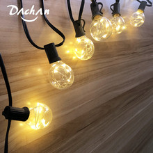 Safety 3.7V 25Ft LED G40 Globe String Lights With Clear Bulb Patio Lights IP44 Vintage Bulbs Decorative Outdoor Garland Wedding
