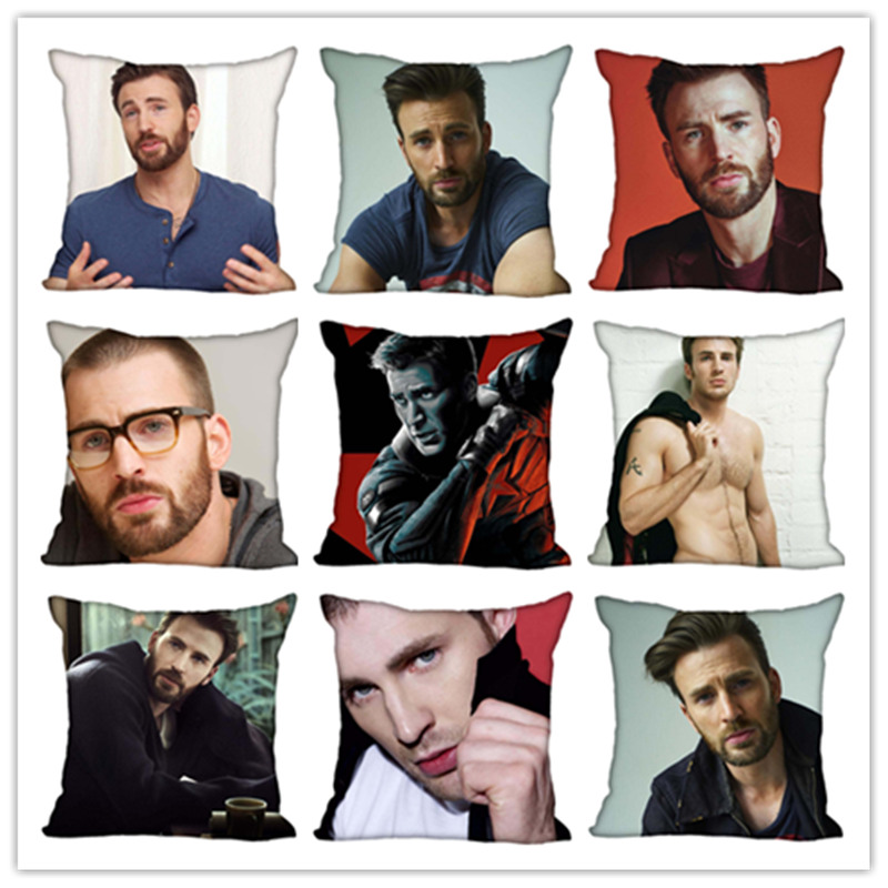 Custom Chris Evans Square Pillowcase Custom Zippered Bedroom Home Pillow Cover Case 1pcs Custom 40x40cm