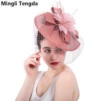Mingli Tengda 2018 Face Veil Wedding Fascinators and Hats Bridal Hats for Women Elegant Bridal Decoration chapeau femme mariage