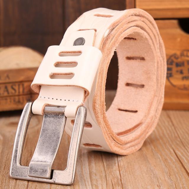 2017 cinturón Blanco para mujer para hombre de lujo diseñador caliente cowboy cowgirl correa de alta calidad de piel de vaca plena flor de cuero genuino ceinture