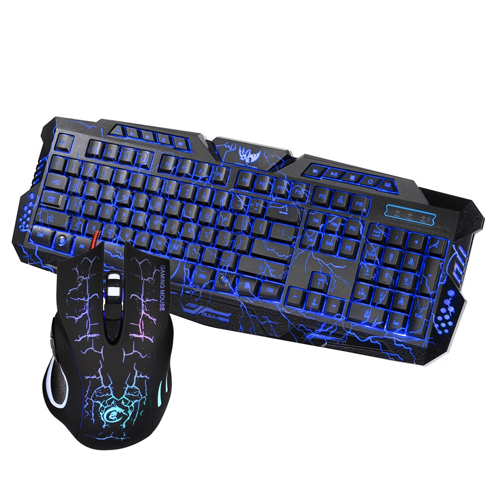 купить J10 Keyboard Mouse Combo Colorful Adjustable LED Color Backlit Ergonomic Gaming Keyboard with Mouse Set Russian English Version онлайн