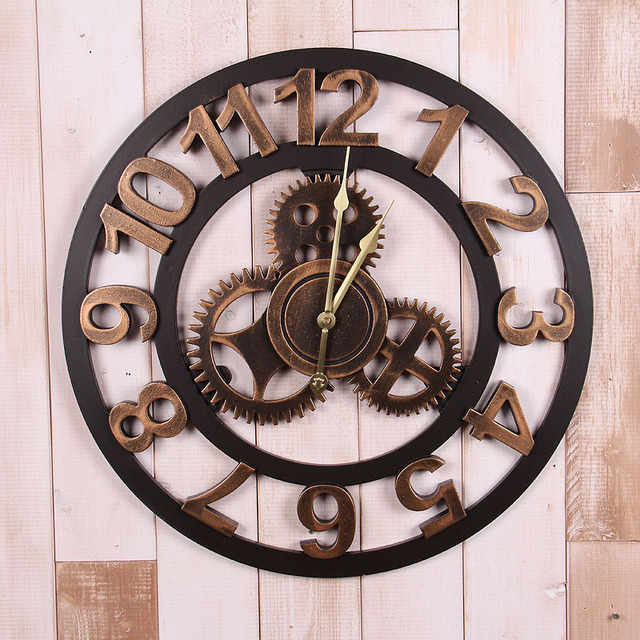 Gear Wall Decor aliexpress : buy 2017 vintage gear wall clock retro wall