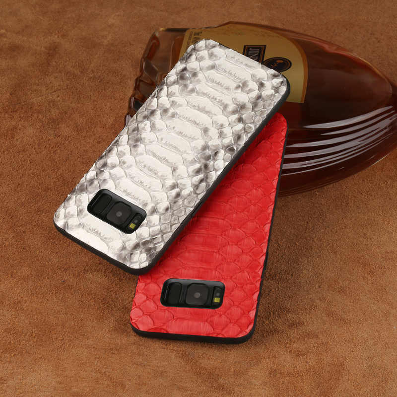 LANGSIDI marka cep telefon kılıfı doğal python cilt kapak telefon samsung kılıfı Galaxy S8 cep telefonu kapak tüm el yapımı özel