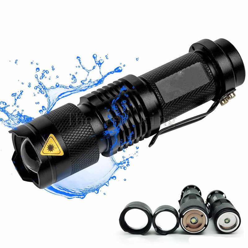 מיני כיס Led פנס 6000LM T6 Q5 LED לפיד חגורת קליפ Zoomable 3-מצבי פוקוס לפיד עמיד למים עבור חיצוני AA/14500 סוללה