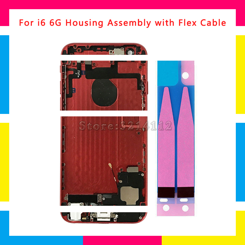 Back Middle Frame Chassis Full Housing Assembly Battery Cover Door Rear with Flex Cable For iphone 6 6G and 6 Plus Repair Parts