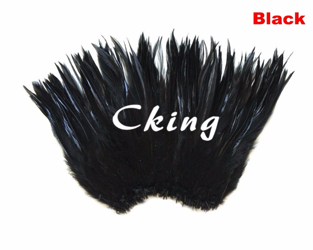 Free shipping 1kgs Black color rooster saddle feather strungs rolls 5 6inch in width