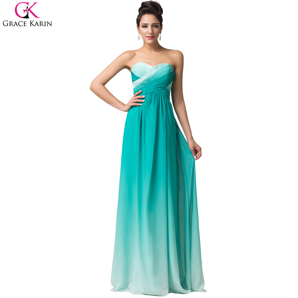 Grace Karin Green Long Evening Dress 2017 Women Formal Dress Chiffon ...