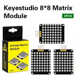 3 шт. Keyestudio красный цвет общий катод I2C 8*8 СВЕТОДИОДНЫЙ матричный модуль HT16K33 для Arduino UNO R3