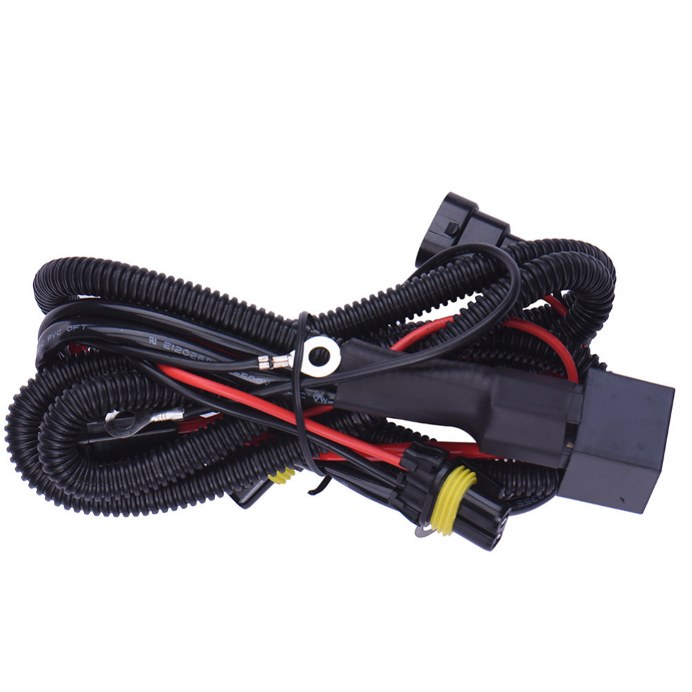 Power Cable Line 9006/HB4 Xenon HID Light 12V 40A Extention Wire Relay Fog Lamp Wiring Harness Kit Fuse Power Off