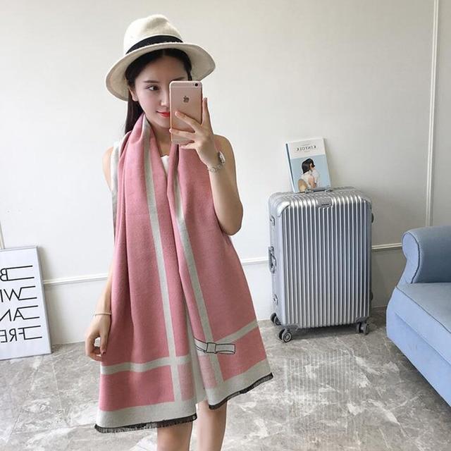 New Women Winter Soft Plaid Knit Artificial Wool Scarf Long Scarves Wrap Shawl Warm Scarf 23
