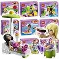 8 tipos de bela 2016 amigos série figuras blocos de construção de casas de animais meninas princesa dom brinquedos compatível com lego
