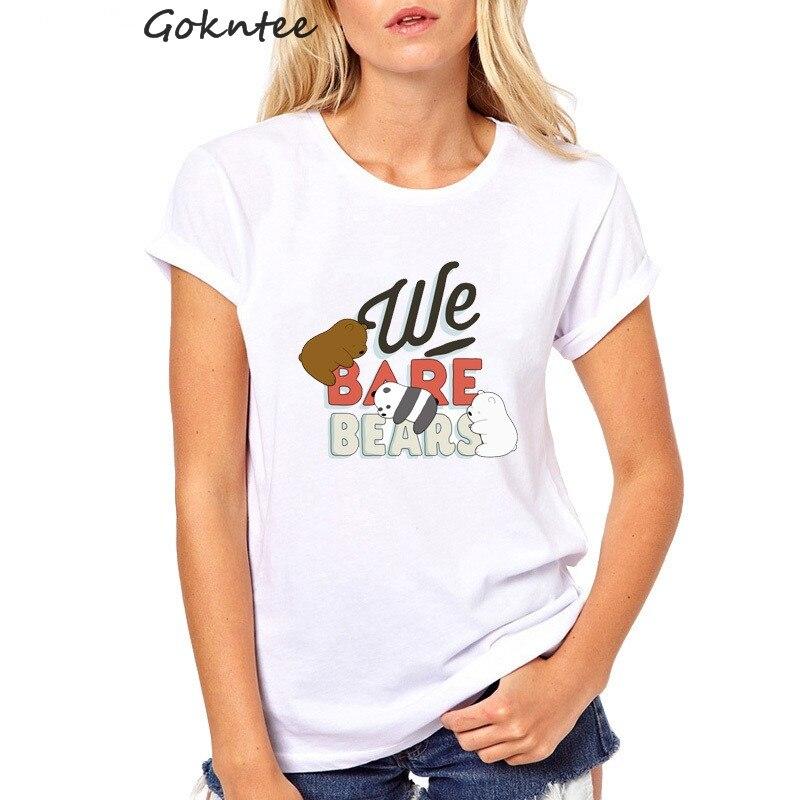 We bare bears Women Tshirt Harajuku Ulzzang Tops Tumblr Kawaii harajuku T shirt Casual Tee Shirt Femme Vogue camiseta mujer in T Shirts from Women 39 s Clothing