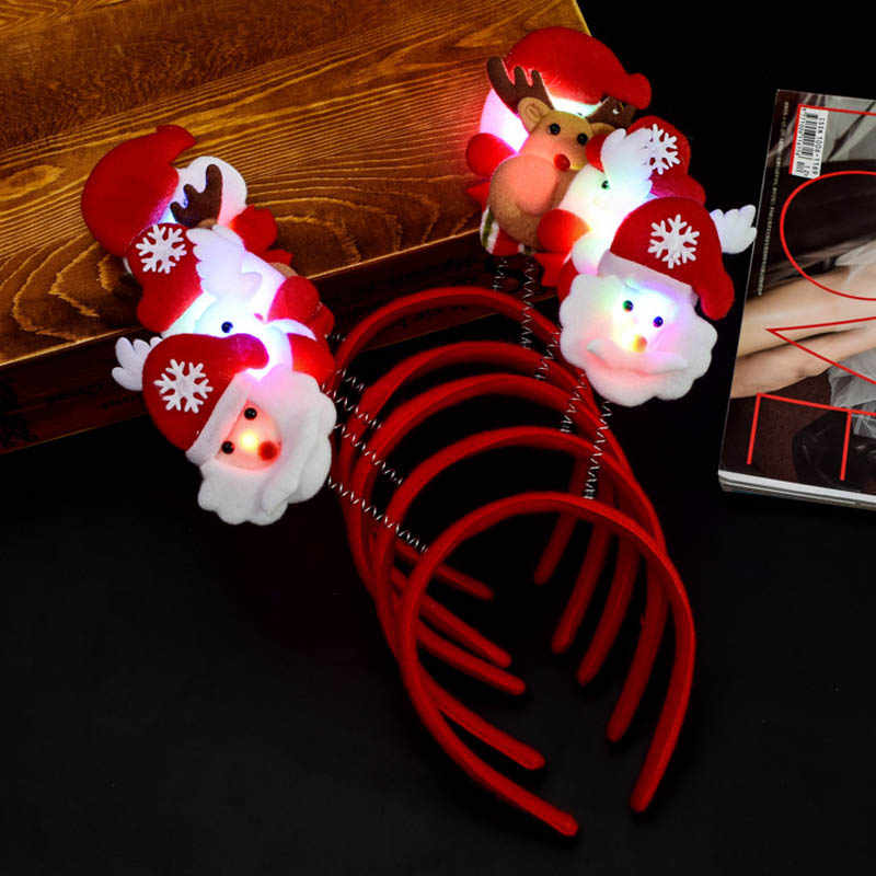 Economical Christmas Headband Light Up Hat Glasses Pen Brooch Accessories Decoration For Party Holiday ds99