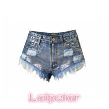 2018  Summer jean shorts for woman high waisted women beach rivert ripped casual sexy denim plus size Laipelar