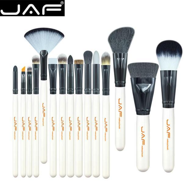 JAF 2018 15 piezas profesional maquillaje pinceles sombra de ojos en polvo Fundación Blush cosméticos cepillo del ventilador Set Dropshipping