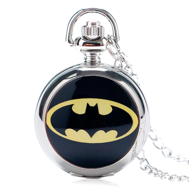 Fashion silver girl unisex woman child Super Hero Batman logo Pocket Watch hour
