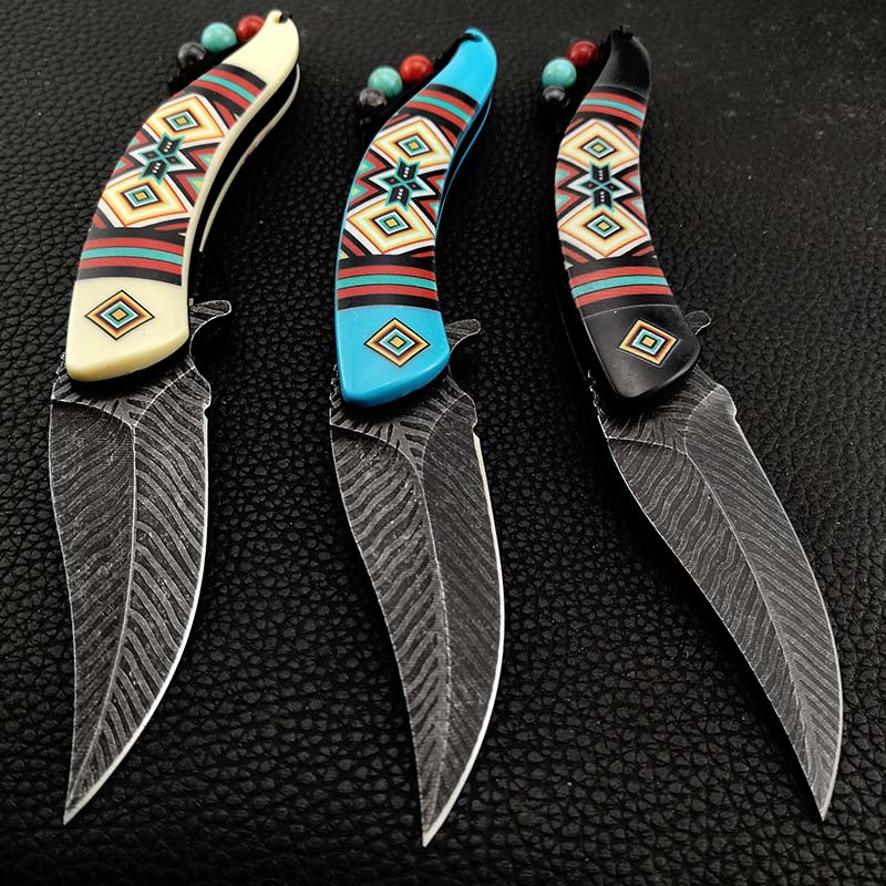 Native Indian Fold Blade Knife Collection America Hunting Camping Hiking Knifes Special Gift 3 Style Color for Collectors
